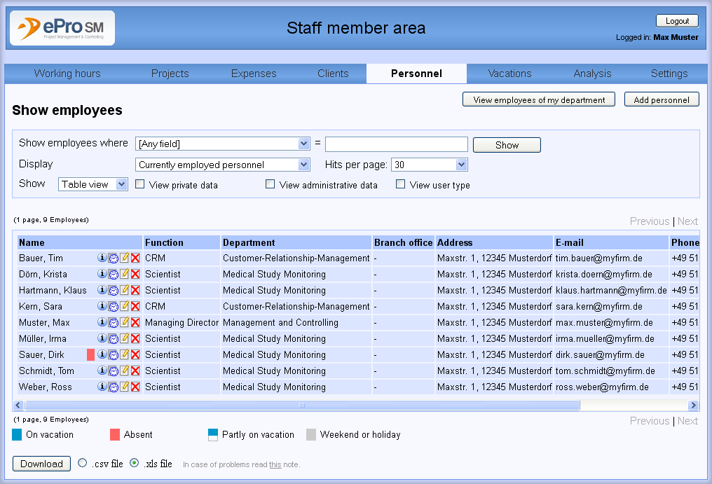 hrm employee list view